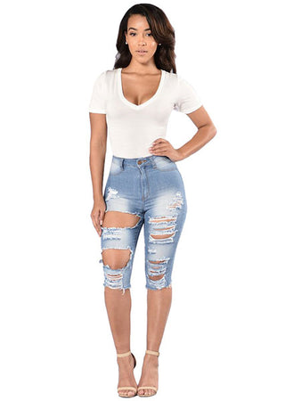 Fishnet Insert Knee Length Jeans Pants