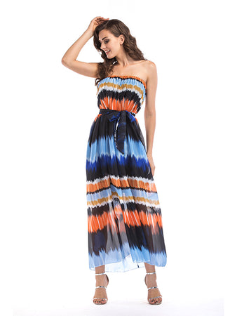 Gradient Tye And Dye Offshoulder Maxi Dress