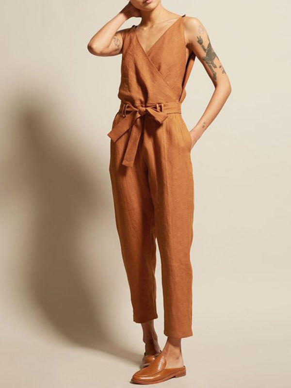 V Neck Sleeveless Overalls Jumpsuits