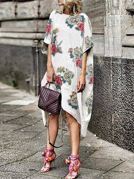 Bohemian Asymmetrical Floral Print Dress