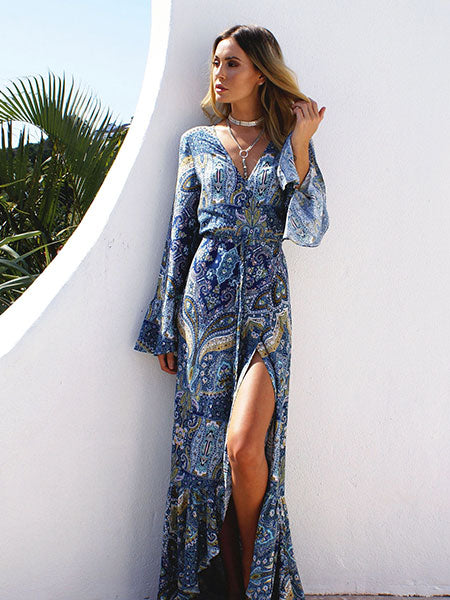 Damask Front Open Maxi Dress