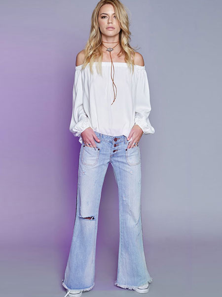 Frayed Flayered Jeans Pants