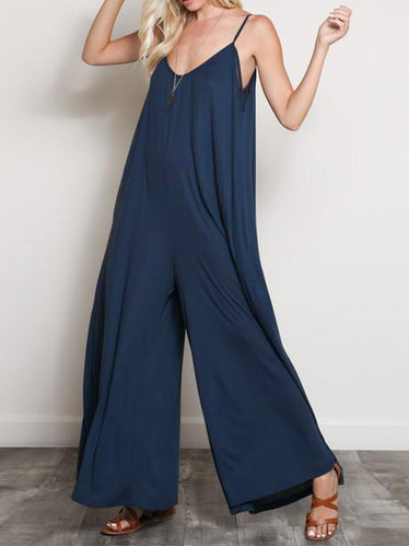 V Neck Overalls Solid Wide Leg Pants Jumpsuits