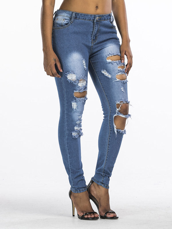 Ripped Low Rise Jeans Pants