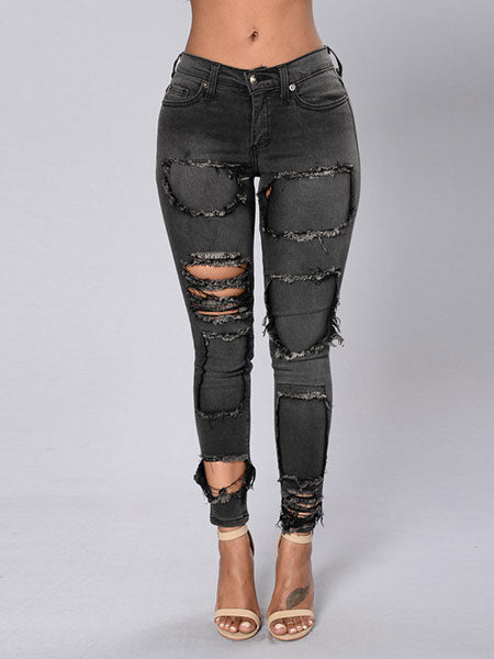 Ripped patches Skinny Jeans Pants