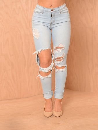 Folded Ankle Jeans Pants