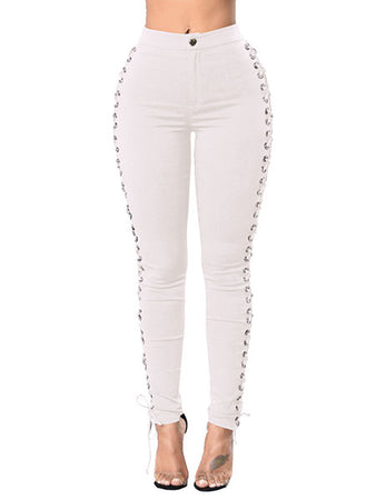 Crisscross Panel Jeans Pants