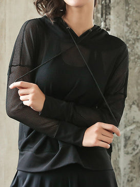 Long sleeved breathable Mesh Hoodie Sweater