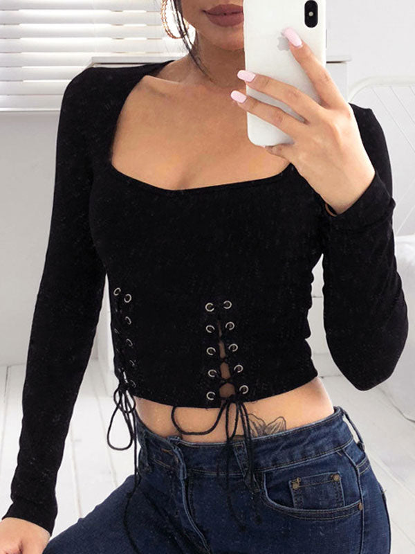 Button Lace up Crop Tops