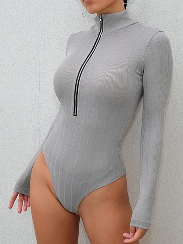 Zipper Turtleneck Bodysuit