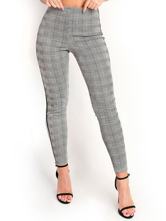 Plaid Side Ribbon Pants