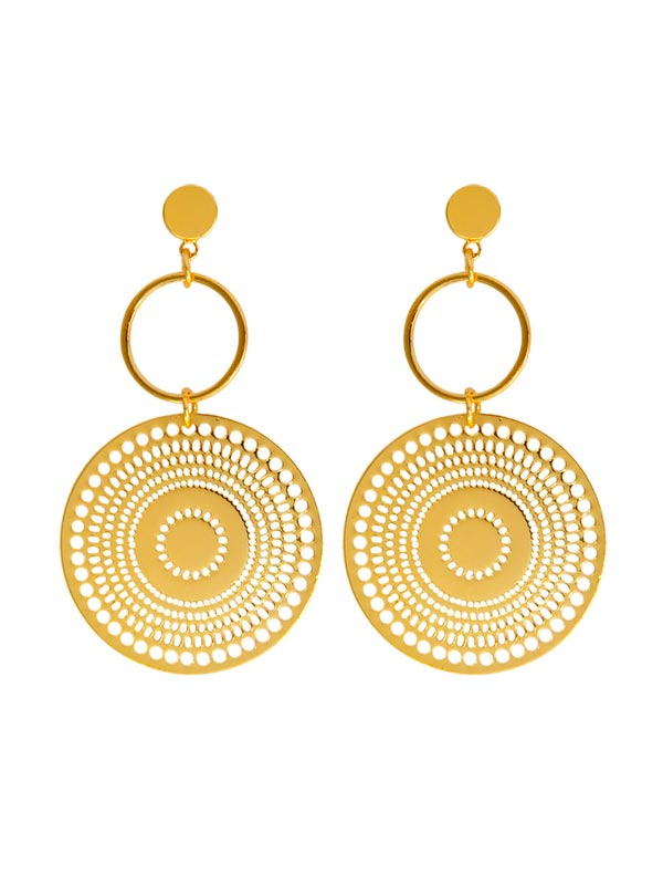 Hollow Round & Circle Drop Earrings