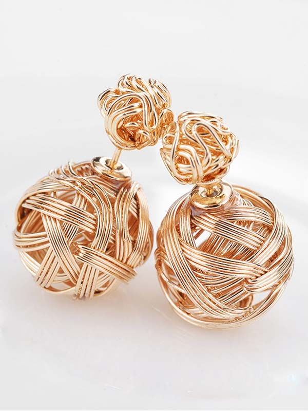 Hollow Ball Design Drop Earrings