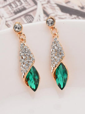 Rhinestone Engraved Waterdrop Earrings