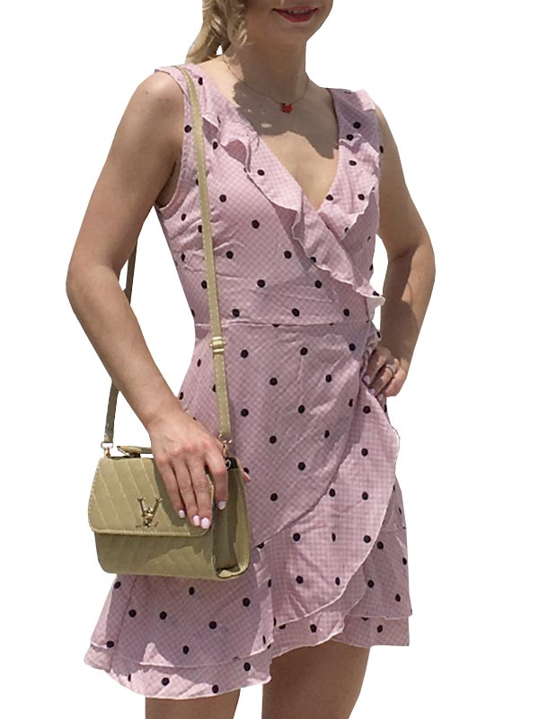 Dot Printed V-neck Dress