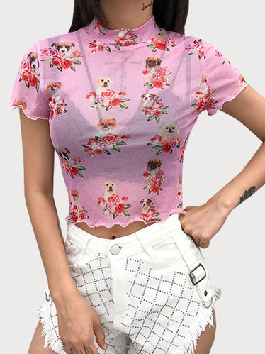 Transparent Dog Floral Print Mesh Top