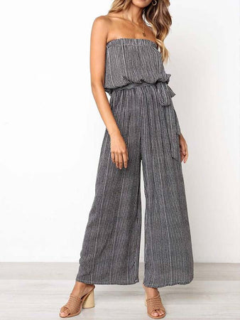 Striped Printed Wide-Leg Jumpsuit