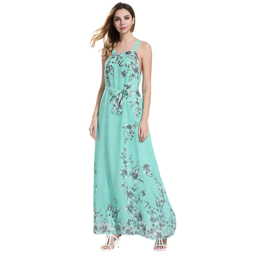 Sleeveless Floral Print Long Maxi Boho Dress