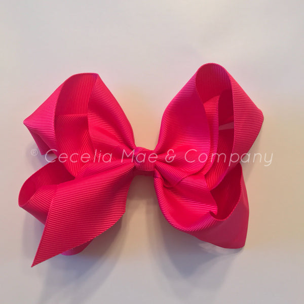 "6"" Bow Bright Pink"