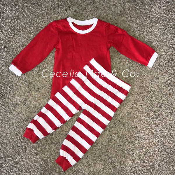 Christmas Pajamas Red/White Stripe