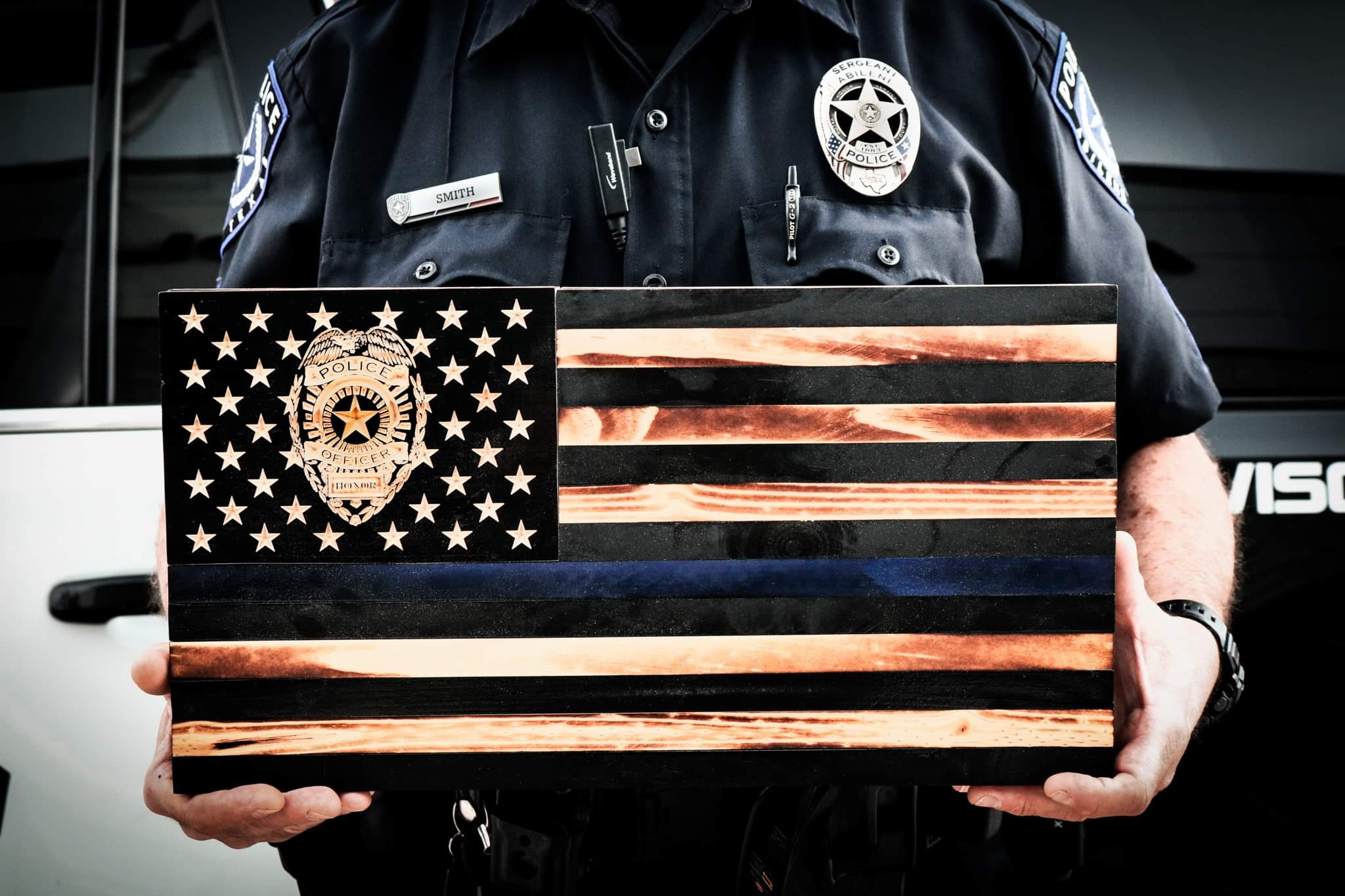 "Subdued Police ""Blessed are the Peacemakers"" Rustic Flag"