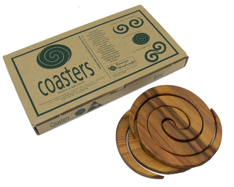 Romeyn Woodcrafts - Set of 4 Rimu Coasters - Koru