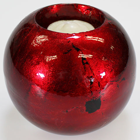 Red Mottle Ball Candle Holder