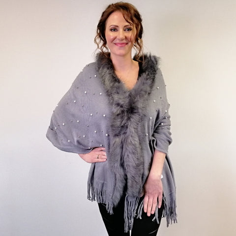 Embossed Wrap with Faux Fur and Pearl - Silver