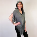Long Fringe Wrap with Hood - Grey