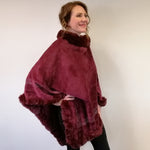 Poncho with Faux Fur and Diamante Border - Dark Red