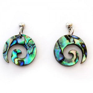 Paua Earrings - Koru Design