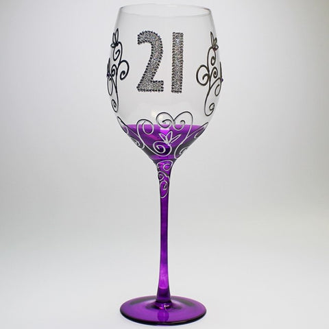 21st Glass - Clear Balloon Glass with Crystals - Hand Painted