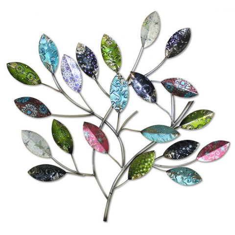 Branch with Multicoloured Leaves Metal Wall Art