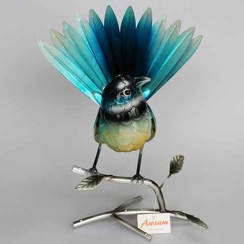Blue Fantail on Branch Sculpture
