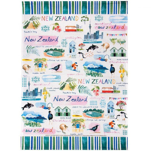 New Zealand - Land of the Long White Cloud - Tea Towel