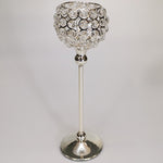Silver Crystal Candle Holder - 34cm