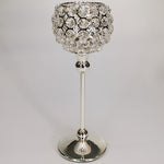 Silver Crystal Candle Holder - 29cm