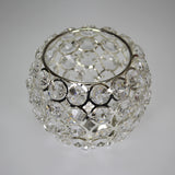 Small Round Silver Crystal Candle Holder
