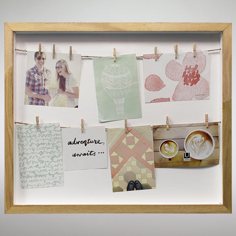 'Clothesline' Natural Shadow Box Photo Frame