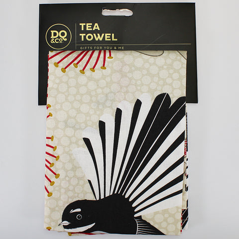 Tea Towel - Flirting Fantails - White