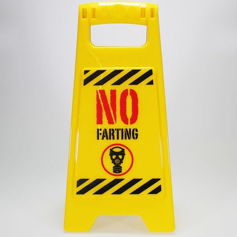 "Mini A-Frame Warning Toilet Sign - ""No Farting"""