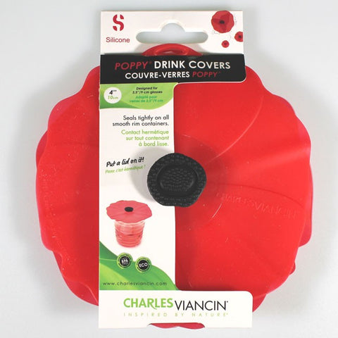 Charles Viancin 10cm Silicone Poppy Lid Drink Covers x 2 for Smooth-rimmed Glasses & Containers