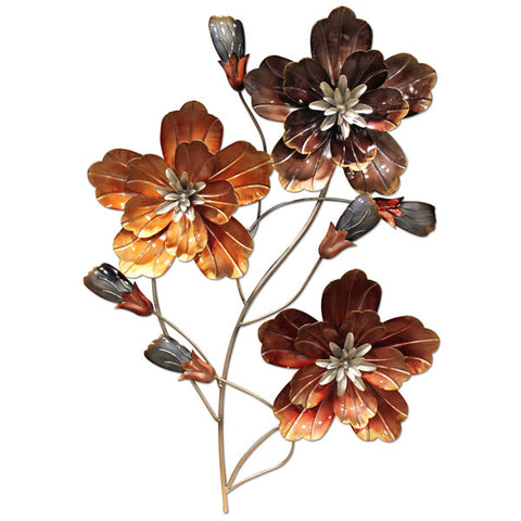 Three Flowers Metal Wall Art - Autumn Shades