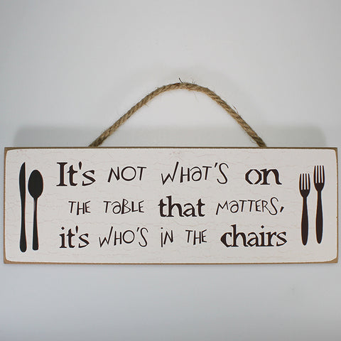 'It's Not What's on the Table' Plaque Sign