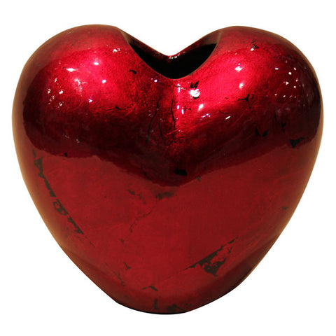 Red Mottle - Heart Vase - 19cm
