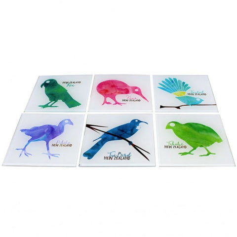New Zealand Birds Coasters - Set of 6 - Glass