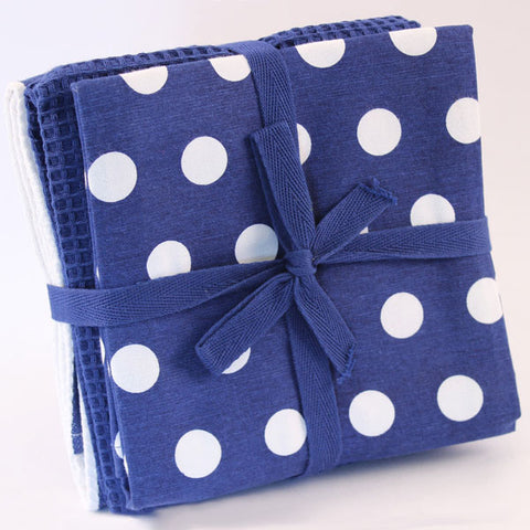 Tea Towel - Three Pack - Royal Blue with White Spots