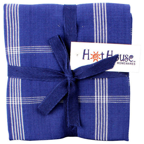 Tea Towel - Three Pack - Stripes - Royal Blue