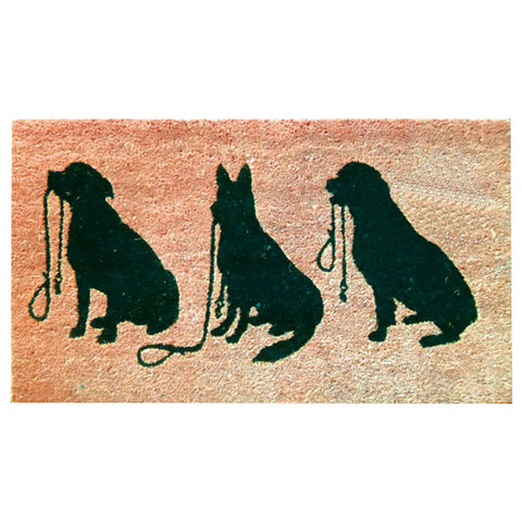 Coir Doormat - Three Dogs Silhouette