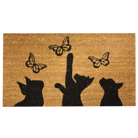 Coir Doormat - Cats and Butterflies Silhouette
